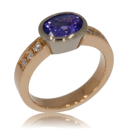 Oval Sapphire and Diamond Rose Gold Ring