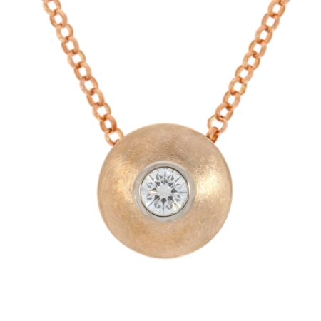 Circular rose gold pendant with diamond designed and made by JMK, Kilkenny