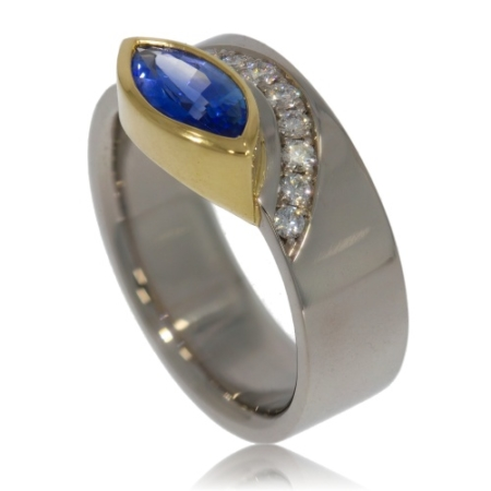 Palladium and Gold Ring with Sapphire and Diamonds