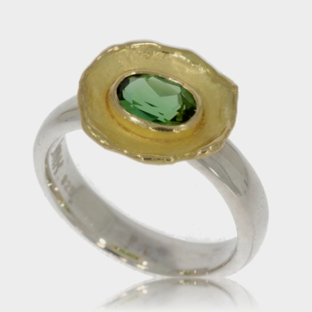 Silver Ring with Reticulated Gold and a Green Tourmaline