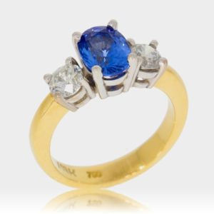 Sapphire Diamond and Gold Ring