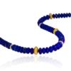 Close up of beaded lapis lazuli necklace