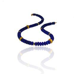 Beaded lapis lazuli necklace