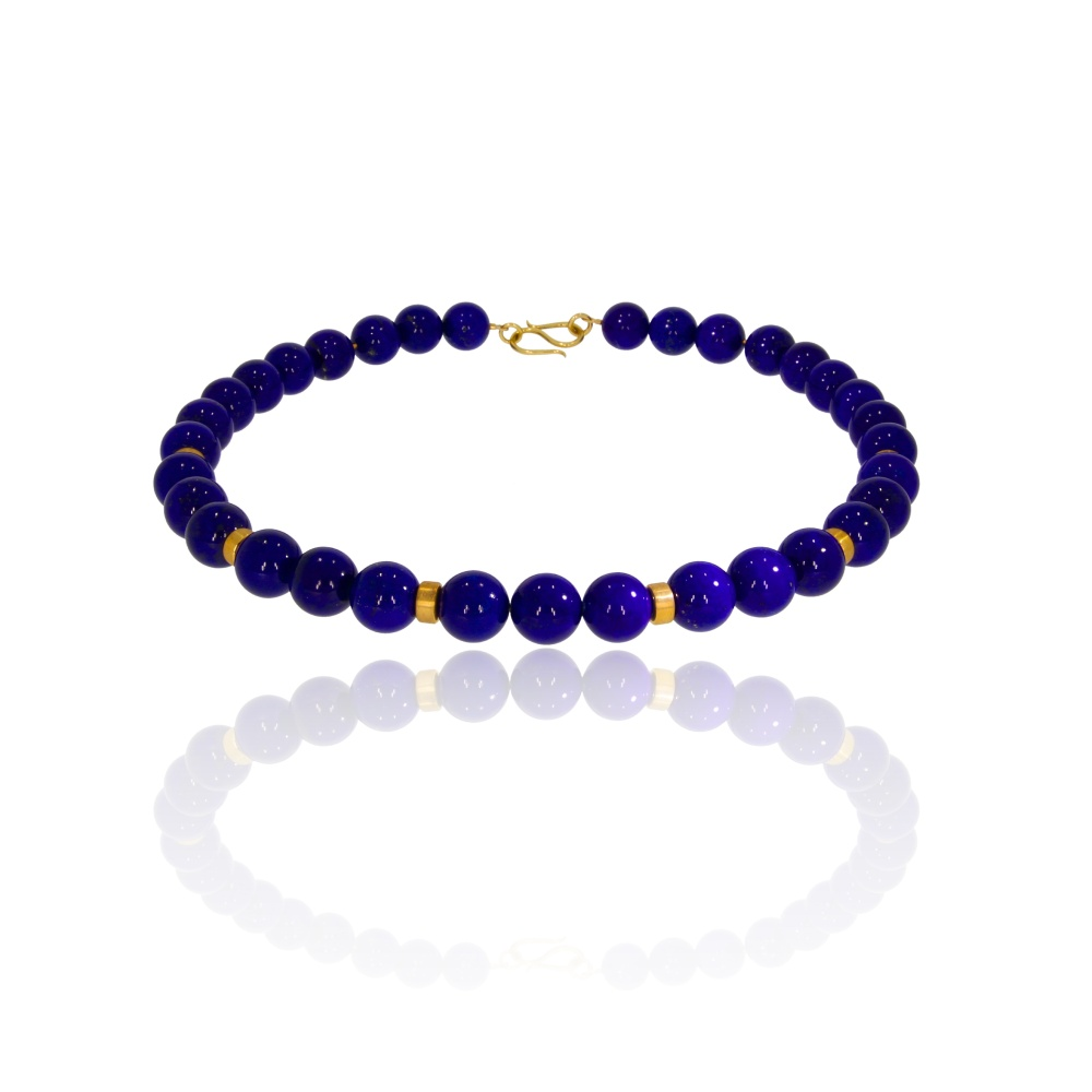 Beaded lapis lazuli and gold necklace with S hook clasp
