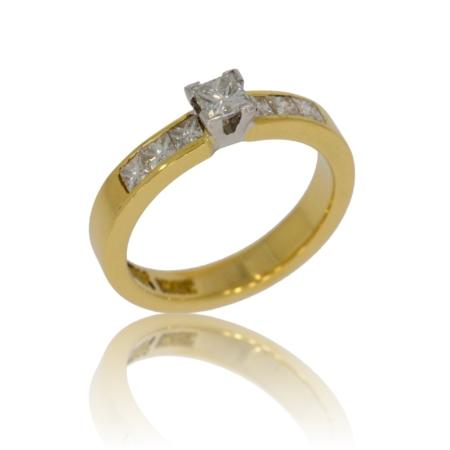 7 stone square diamond gold ring.