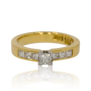 7 stone square diamond gold ring.
