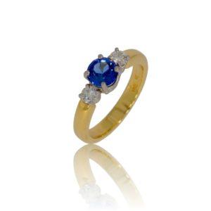 Three stone round sapphire and diamond gold ring
