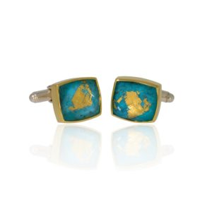 Silver cufflinks with quartz and turquoise set into 18ct gold.