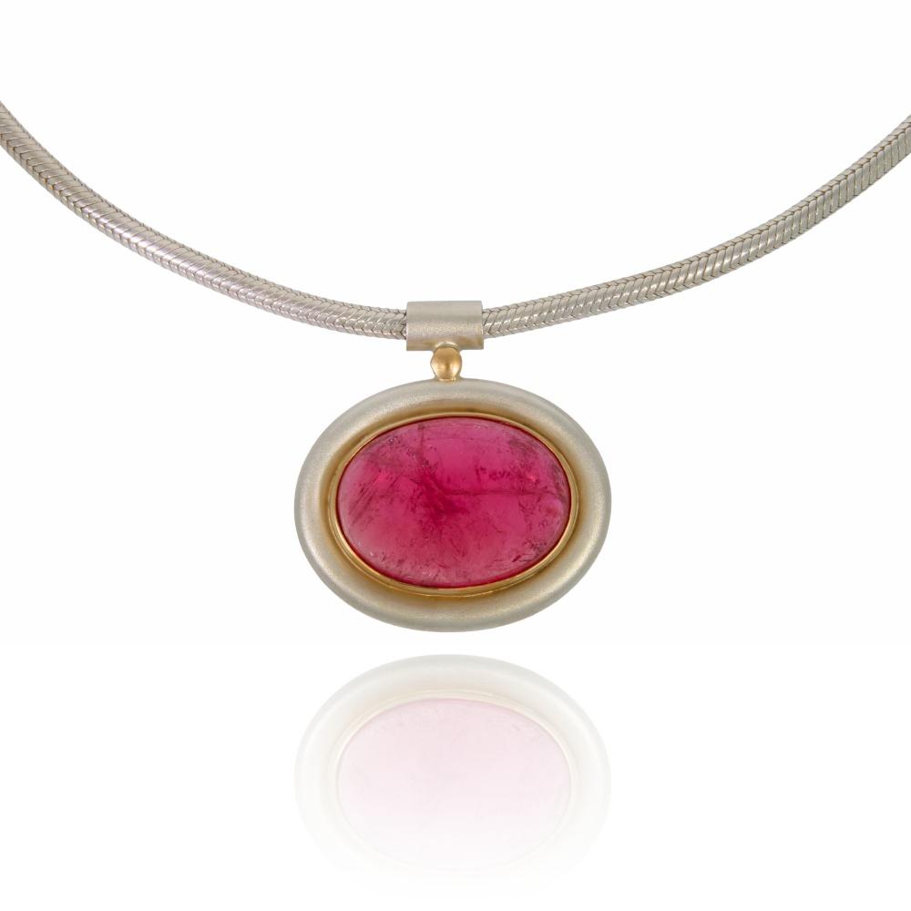 Oval Pink Tourmaline Silver Pendant With Rose Gold Decor Jmk Goldsmiths