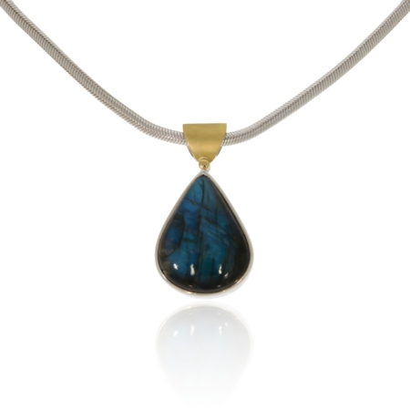 Pear shaped labradorite silver pendant with gold decor