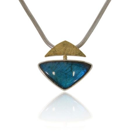 Arrow shaped labradorite silver pendant with gold decor.