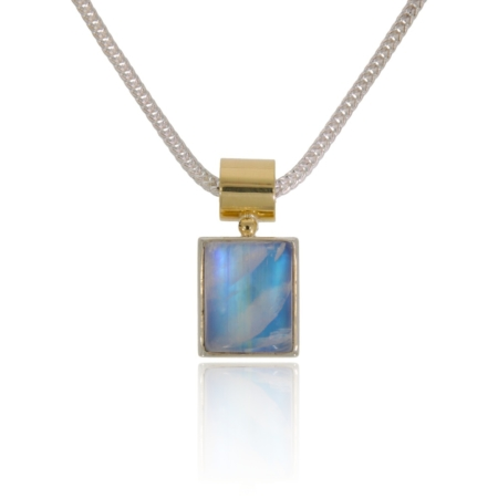 Labradorite silver pendant with gold decor.