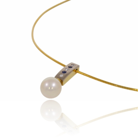 Pearl, diamond and sapphire gold pendant.