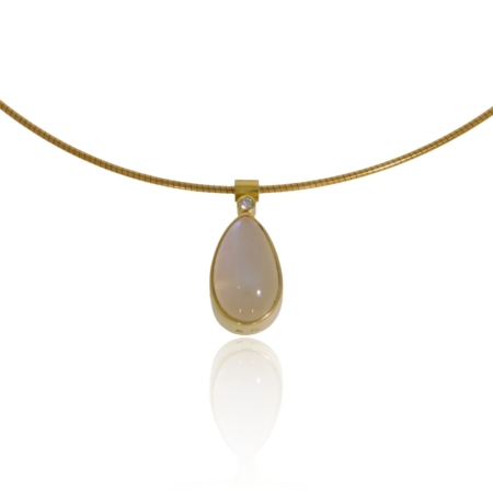 Moonstone and diamond gold pendant.