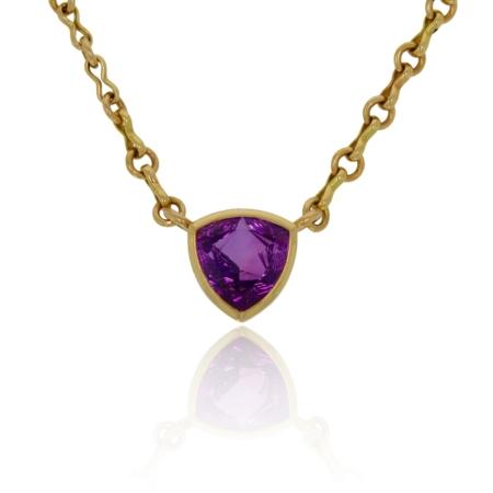 Trilliant Namibia and diamond gold pendant.