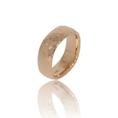 Soft square pink god ring with a hammered texture