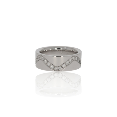 White gold ring with flowing pave set diamonds.