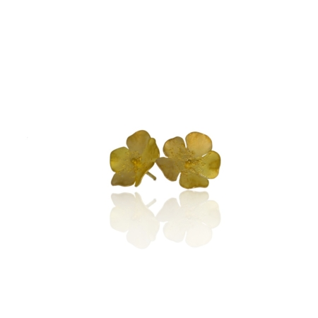 Yellow gold buttercup earrings