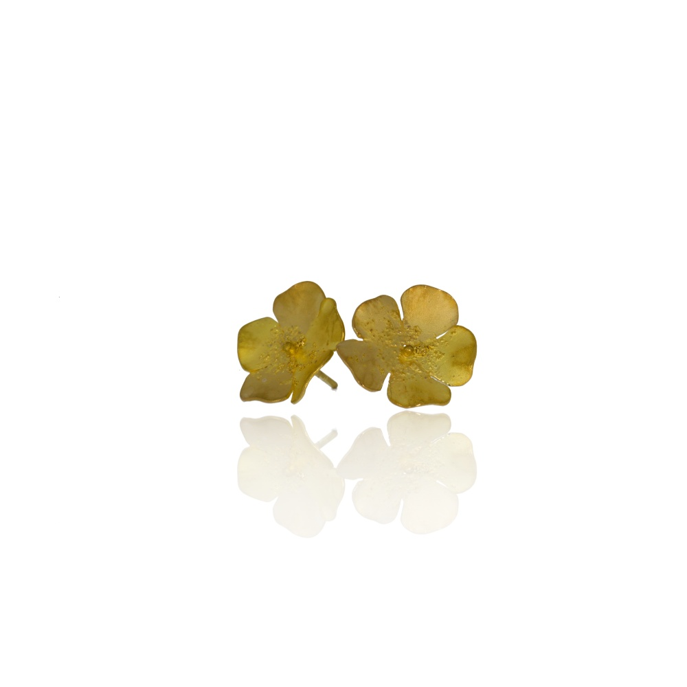 Yellow gold buttercup earrings