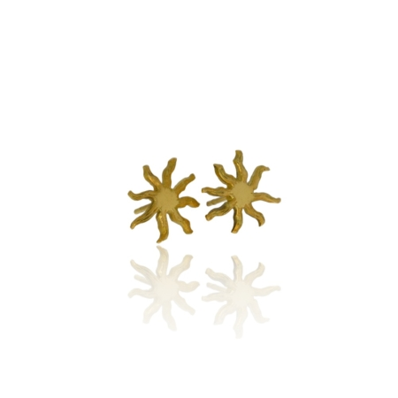 Gold sunshine stud earrings.