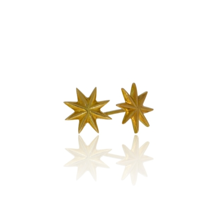 Gold star stud earrings.