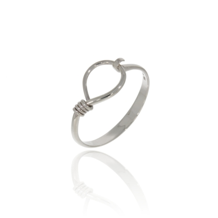 Silver bangle with twisted loop detail.