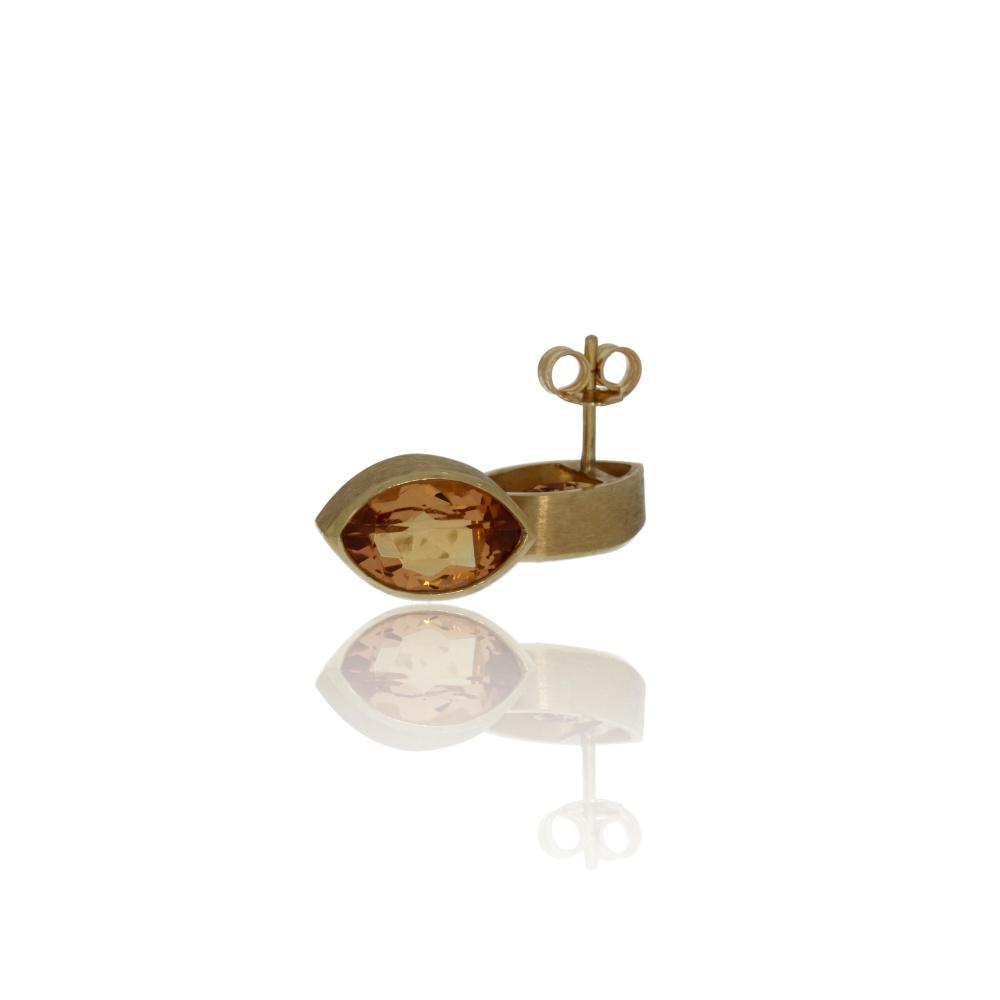 Gold pineapple-cut citrine earrings