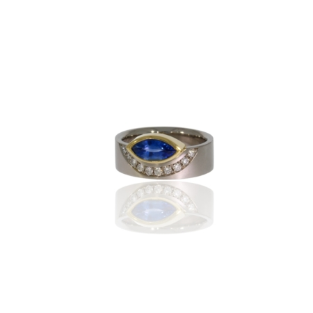 Palladium ring with marquise sapphire and diamonds