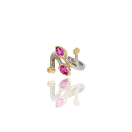 Hand-forged platinum twist ring with pink and yellow sapphires