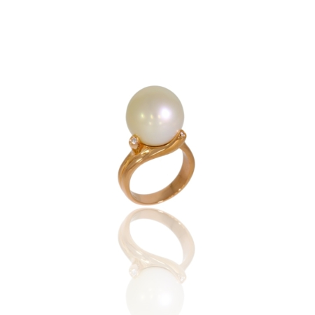 Rose gold pearl and diamond ring.