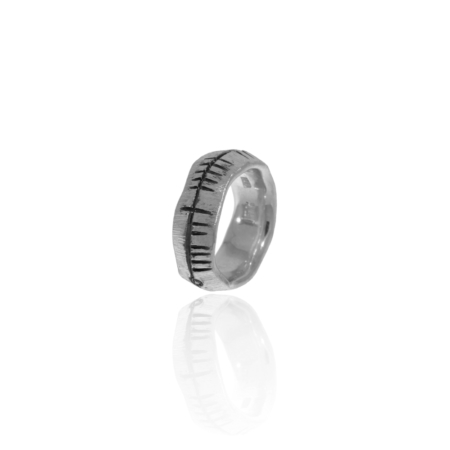 Oxidised Silver Ogham Ring