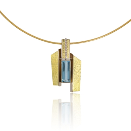 18ct Angular gold pendant with an aquamarine and row of diamonds
