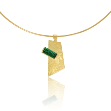 18ct angular gold pendant with a green tourmaline and diamond