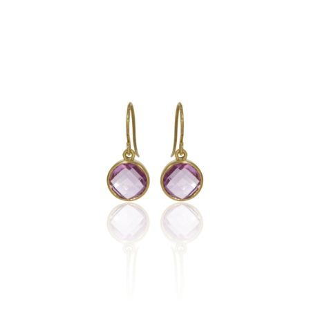 Faceted briolette amethyst drop earrings in 18ct gold