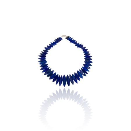 Necklace with navette lapis lazuli beads graduated in size.