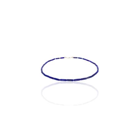 Necklace of cylindrical lapis lazuli beads