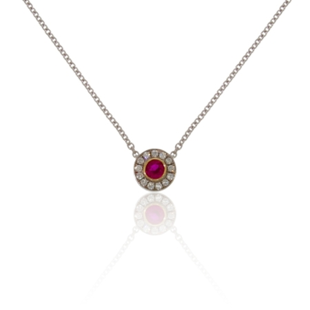 Ruby pendant in 18ct white gold with a diamond surround