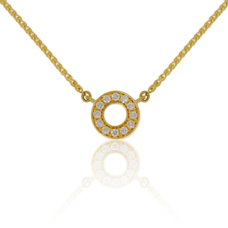 Hollow circle pendant in 18ct yellow gold with a ring of 2.1mm round diamonds