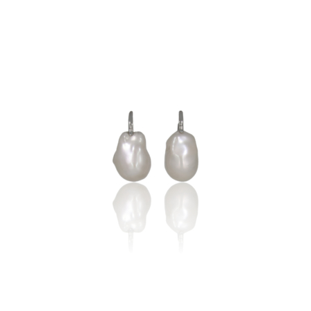 Baroque pearl drop earrings with white gold findings