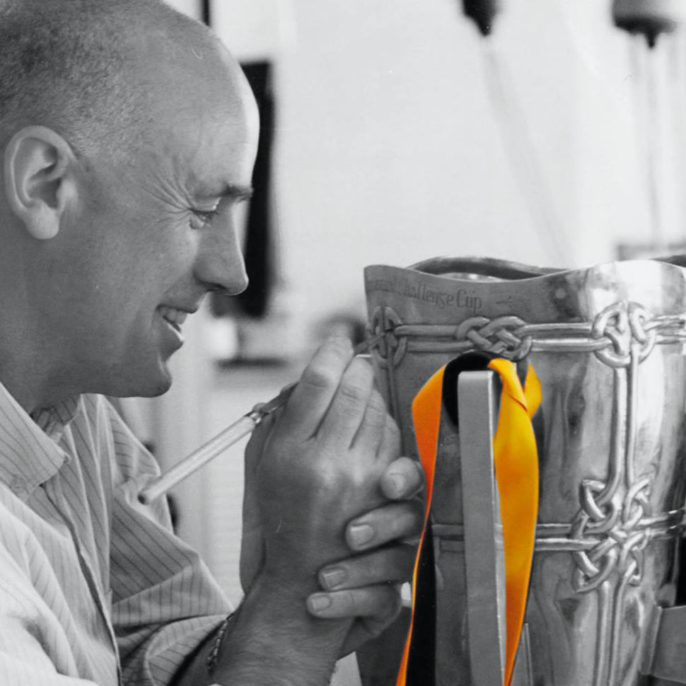 James Mary Kelly, owner of JMK goldsmiths adding some finishing touches to the Liam MacCarthy Cup in Kilkenny, Ireland