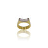 Gold band ring with five princess cut diamonds set in white gold on a curve mirroring the curve of the ring