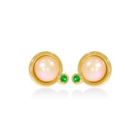 Pearl and green tsavorite gold stud earrings