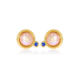 Pearl and sapphire gold stud earrings