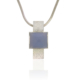 Long rectangular silver textured pendant with a square chalcedony cabochon set in the centre slightly wide of the rectangle