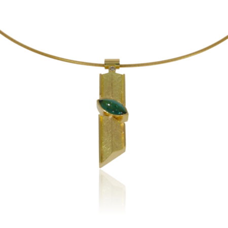 Angular gold bar pendant with a green navette shaped tourmaline set at an angle cross-ways in centre of pendant. Diamond at top between bar and tube bail