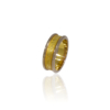 Two tone ring - textured yellow gold with white gold raised edges