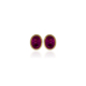 Oval pink tourmaline gold stud earrings in a rub over setting